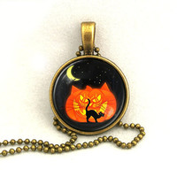 10% SALE Halloween Necklace Pumpkin Black Cat Moon Pendant with Chain Necklaces Gift