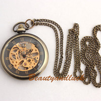 Vintage Brass Steampunk Skeleton Mechanical Pocket Watch Necklace