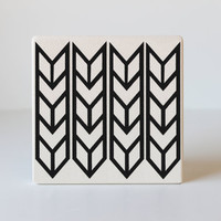 Black and White Geometric Modern Ceramic Coasters- Set of 4