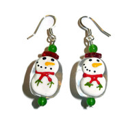 Glass Snowmen Dangle Earrings