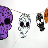Printable Sugar Skull Garland- DIY decor - Day of the Dead  - Dia de los Muertos