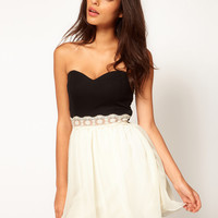 Paprika | Paprika Bandeau Chiffon Prom Dress With Lace Trim at ASOS