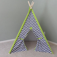 "Navy Chevron Teepee with Solid Sleeves 44"" inside Size Pick your Colors Pictured as Navy and Lime Tent Tipi Wigwam Kids Fort"