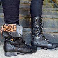 Black Combat Boots with Cheetah Lining