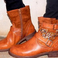 Brown Cowgirl Booties with Rhinestone Detail