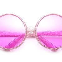 60's Collection Famous Hippie Oversized Round Sunglasses