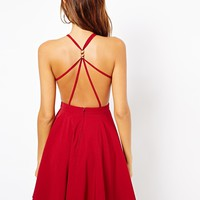 ASOS Petite | ASOS PETITE Exclusive Skater Dress with Strappy Back And Gold Clasp Detail at ASOS