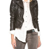 Free People Vegan Leather Peplum Jacket | SHOPBOP