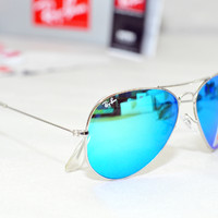 mysunglasses — NewAviator RB3025 Sunglasses Medium Metal Green Iridium Crystal Mirror Lens