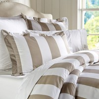 PB Classic Stripe 400-Thread-Count Duvet Cover & Sham - Taupe | Pottery Barn