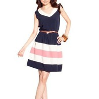 Amazon.com: Allegra K Ladies White V Neck Sleeveless Pullove Dress Dark Blue XS: Clothing