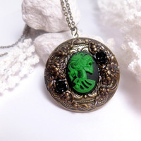 Burlesque Black Rose Lolita Locket Necklace by FashionCrashJewelry