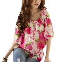 Amazon.com: Allegra K Ladies Flower Pattern Chiffon Pullover Blouse Pink White S: Clothing