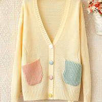 Candy -Colored V-Neck Long-Sleeved Sweater JCEF-454