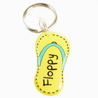 Yellow Flip-Flop Shape Pet ID tag - Happy Tags