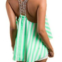 Green Tank Top - Chain Strap Top | UsTrendy