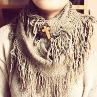 Wooden Cross Infinite Cowl Scarf, Knitted Scarf, Infinite Scarf, Hipster Scarf, Bohemian