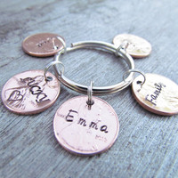 5 Penny Key Chain Hand Stamped Charm Custom Name Date Lucky Personalized Family Keychain
