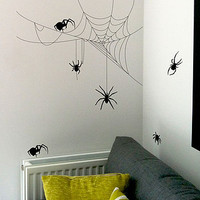 Halloween Spider And Cobweb Set Wall Stickers