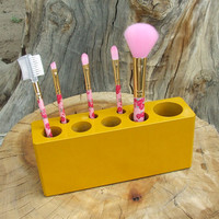 Yellow Pearl Make Up Brush Holder,Cosmetics Caddie, Pencil Holder, Etc. Solid Wood