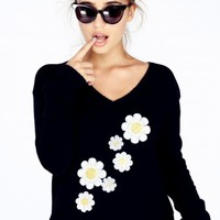 DAISY SASH V NECK SWEATER