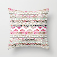 Spring Time! | Girly Pink White Floral Abstract Aztec Pattern Throw Pillow by Girly Trend