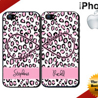 Best Friends iPhone Case - iPhone 5C Case or iPhone 4 Case - Infinity - Leopard Print iPhone Case - Personalized iPhone 5S Case - Two Cases