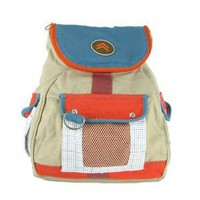 Preppy Orange &amp; Blue Durable Cotton School Backpack 