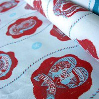 Captains Pattern Red - St Judes Fabric - Natural Fabric - Tinsmiths | Linen and Cotton Fabrics, Lighting, Curtains and Accessories