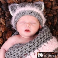 Newborn Kitty Cocoon Set With Hat, Photo Prop | Luulla