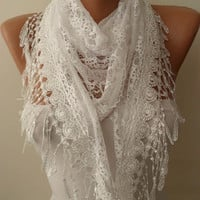 White Lace Shawl / Scarf with Lace Edge by SwedishShop on Etsy