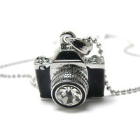 Silvertone Miniature Camera Pendant Crystal Stud Necklace 16""