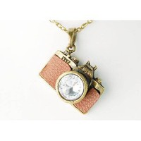 Vintage Like Clear Crystal Rhinestones Retro Inspired Camera Pendant Necklace