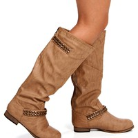 Tan Tall Studded Ankle Boots