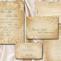 Printable VINTAGE WEDDING INVITATIONS Template by ABandIG on Etsy