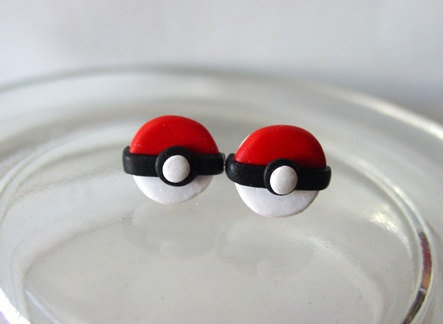 Pokeball Earrings by SimplyEncharming on Etsy