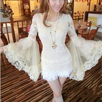 Lace Shirt with Oversize Sleeves