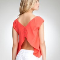 bebe Silk Open Back Flyaway Top