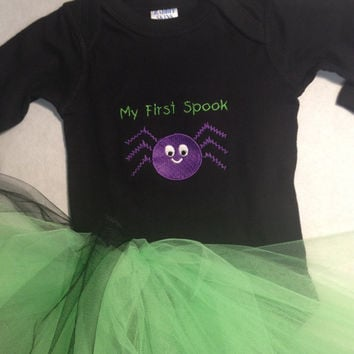 My First Spook Onsie with Lime Green Tutu by CheeksLittleBoutique