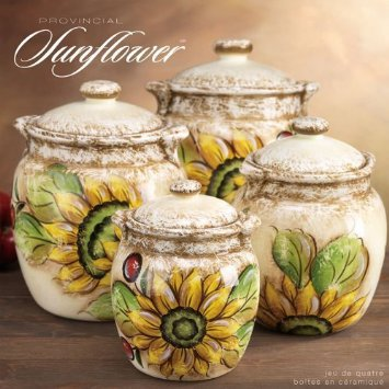 CERAMIC PROVENCE SUNFLOWER CANISTER SET from Amazon | My Home