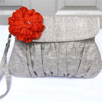 Wristlet Clutch Purse Grey Cotton linen with orange by Oyeta