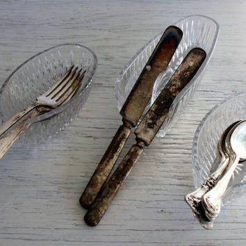crystal utensil holders princess house knife spoon and fork rests buffet table setting
