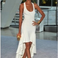 Simple White Halter Hi-low Evening Party Dress