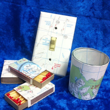 Map Travel Theme Switchplate, Matchboxes and Votive Holder