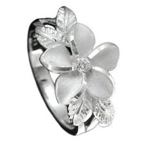 Amazon.com: 925 Silver Plumeria w/ Maile Leaf Ring Size 3: Jewelry