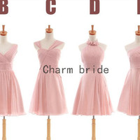Pearl pink Chiffon Bridesmaid Dresses affordable Bridesmaid Dress