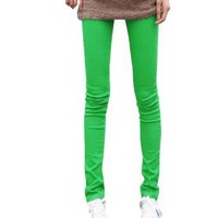 Allegra K Woman Elastic Waistline Back 2-pocket Skinny Pencil Pants Green XS