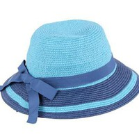 Woven Straw Hats-Navy & Light Blue