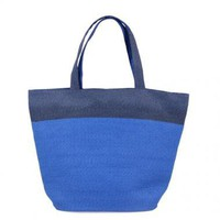 Woven Straw Beach Tote Bags-Dark Blue & Royal Blue