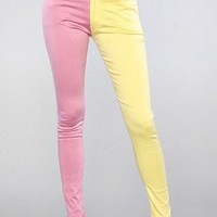 Motel The Jordan Jean in Pink and Lemon,Denim for Women